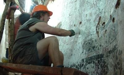 Volunteers on the Archaeology project in Peru examine Incan ruins
