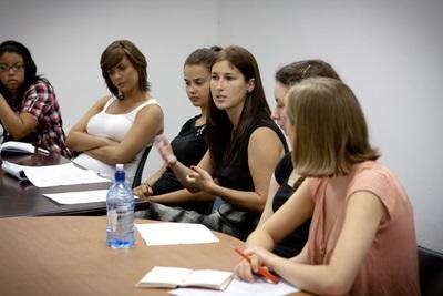 Law  & Human Rights volunteer speaking in a meeting with Projects Abroad