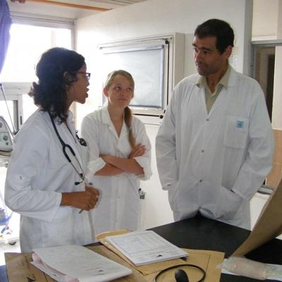 Volunteer consults with hospital staff on a midwifery project in Morocco