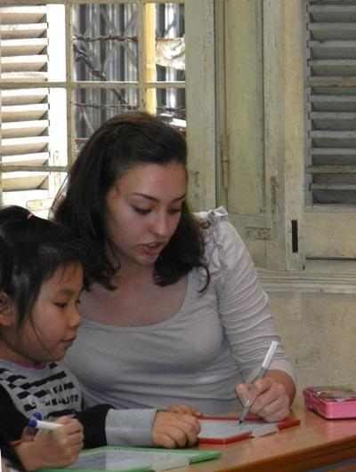 Speech Therapy interns works on activities with children in Vietnam