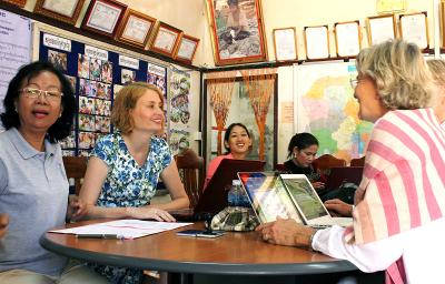 Microfinance volunteers with project participants in Cambodia, Southeast Asia
