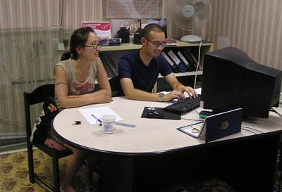 Interns on the Business Project in Mongolia work together in the office