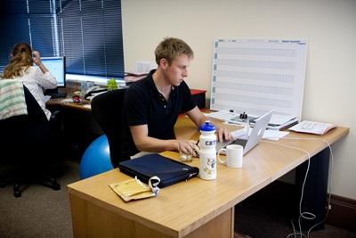 South Africa business intern does office work with Projects Abroad
