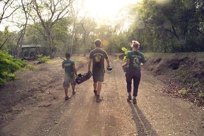 Volontärer vid naturvårdsprojektet i Costa Rica planterar träd i skogen