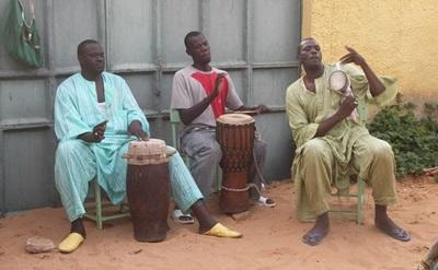Locals playing the drums on the Music project in Senegal