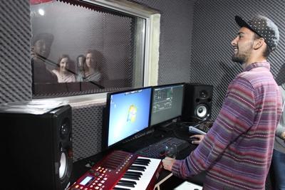 Inspelning av sång i studio i Kapstaden