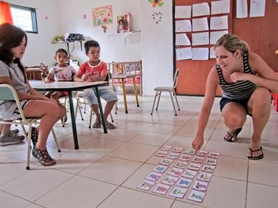 Volunteer creates educational games for students on  her Teaching project in Argentina
