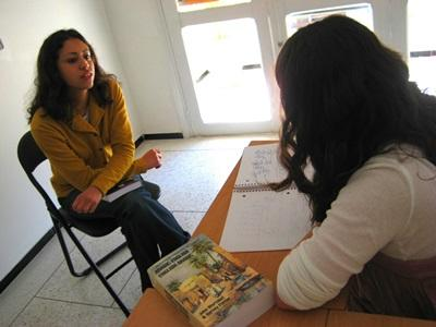 Volunteer on the High School Special in Morocco having an Arabic language lesson