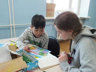 A female volunteer on the Mongolia Care & Community High School Special project.