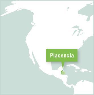 Karta över Belize med Placencia utmärkt