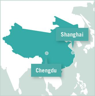 Map of volunteer placement with Projects Abroad is Chengdu and Shanghai, China