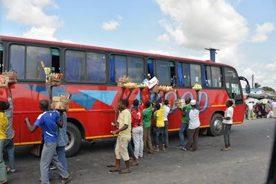 Volunteers in Tanzania travel in local buses to their projects