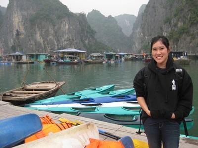 A scenic photo of a volunteer at lake in Vietnam