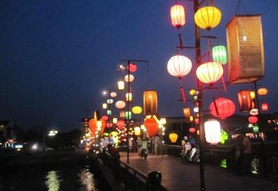 Street lanterns near volunteer projects in Hanoi, Vietnam